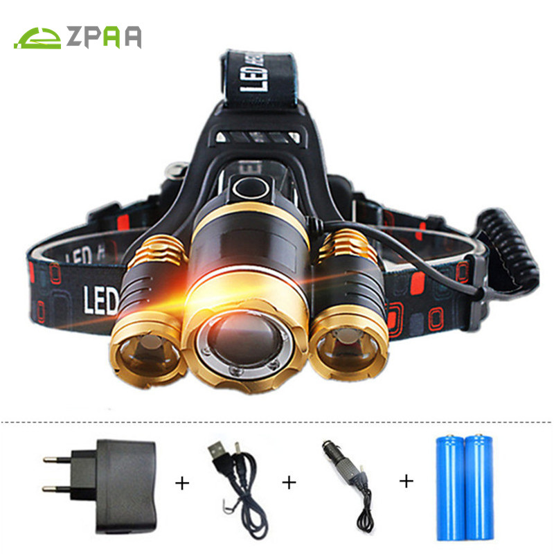 ZPAA Akumulator 12000lm Potężny reflektor Head Led Latarka Latarka T6 LED Lights Zoom Wodoodporna Outdoor Equipment