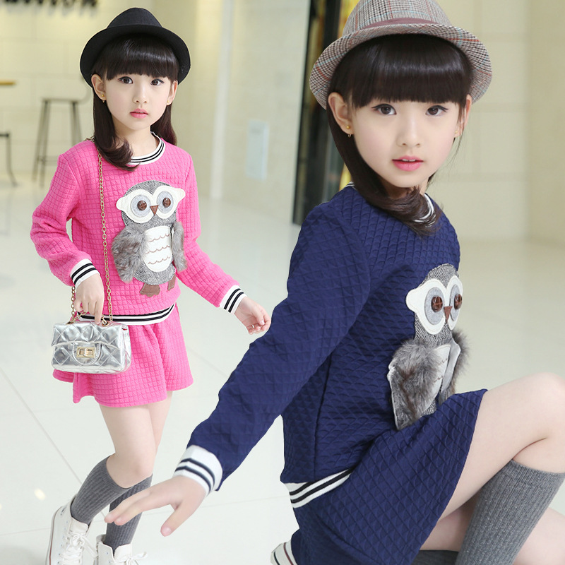 2017 Spring and Autumn new girls suit children's clothing cotton leisure long-sleeved skirt two-piece pullvers 4 5 6 7 8 9 years