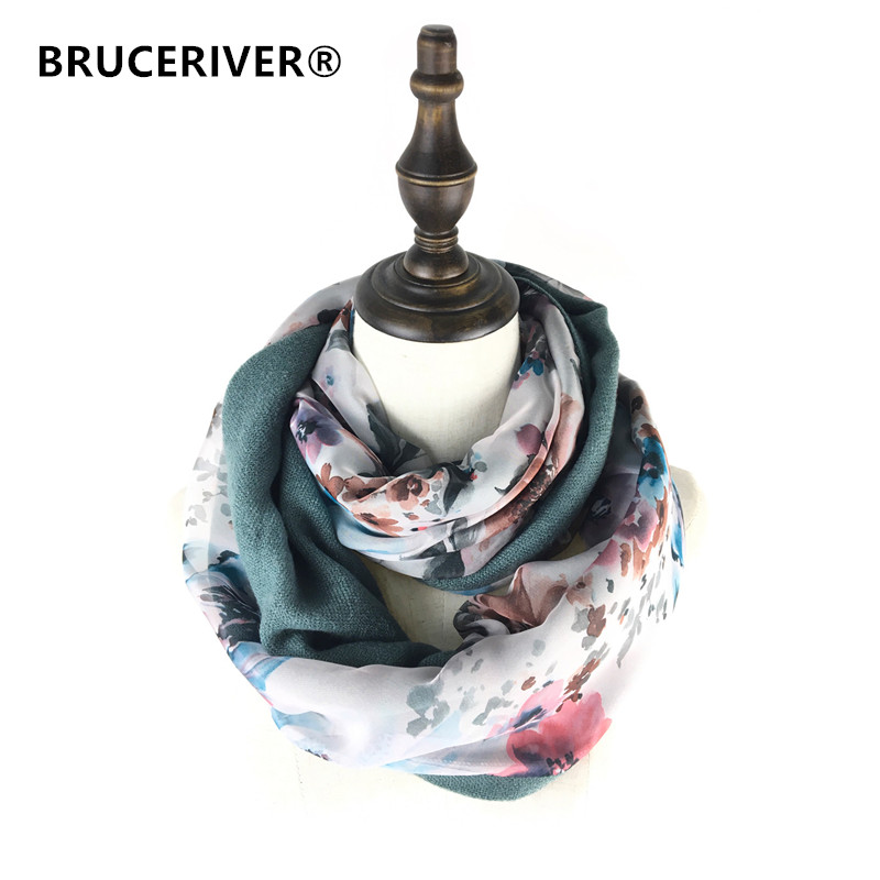 Bruceriver Women's Double Layer Cashmere And Silk Feel Reversible Circle Loop Infinity Scarf