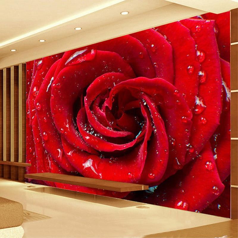 Large Custom Mural 3D Stereo Roses Flower Wallpaper Bedroom Living Room TV Backdrop Home Decor Marriage Room Non-woven Wallpaper