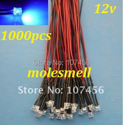 Free Shipping 1000pcs Flat Top Blue LED Lamp Light Set Pre-Wired 5mm 12V DC Wired 5mm 12v Big/wide Angle Blue Led