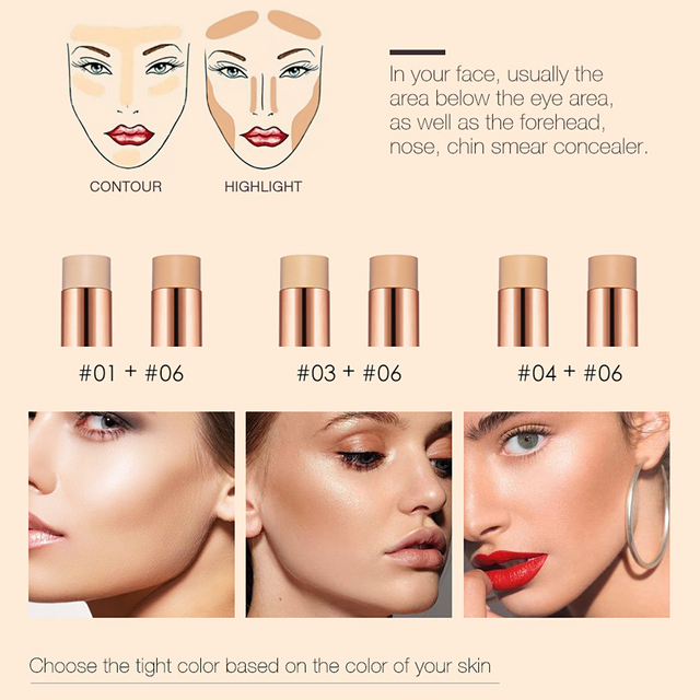 O.TWO.O Face Foundation Stick Makeup Matte Effect 6 Color Waterproof Long Lasting Concealer Face Contour Cosmetic 3