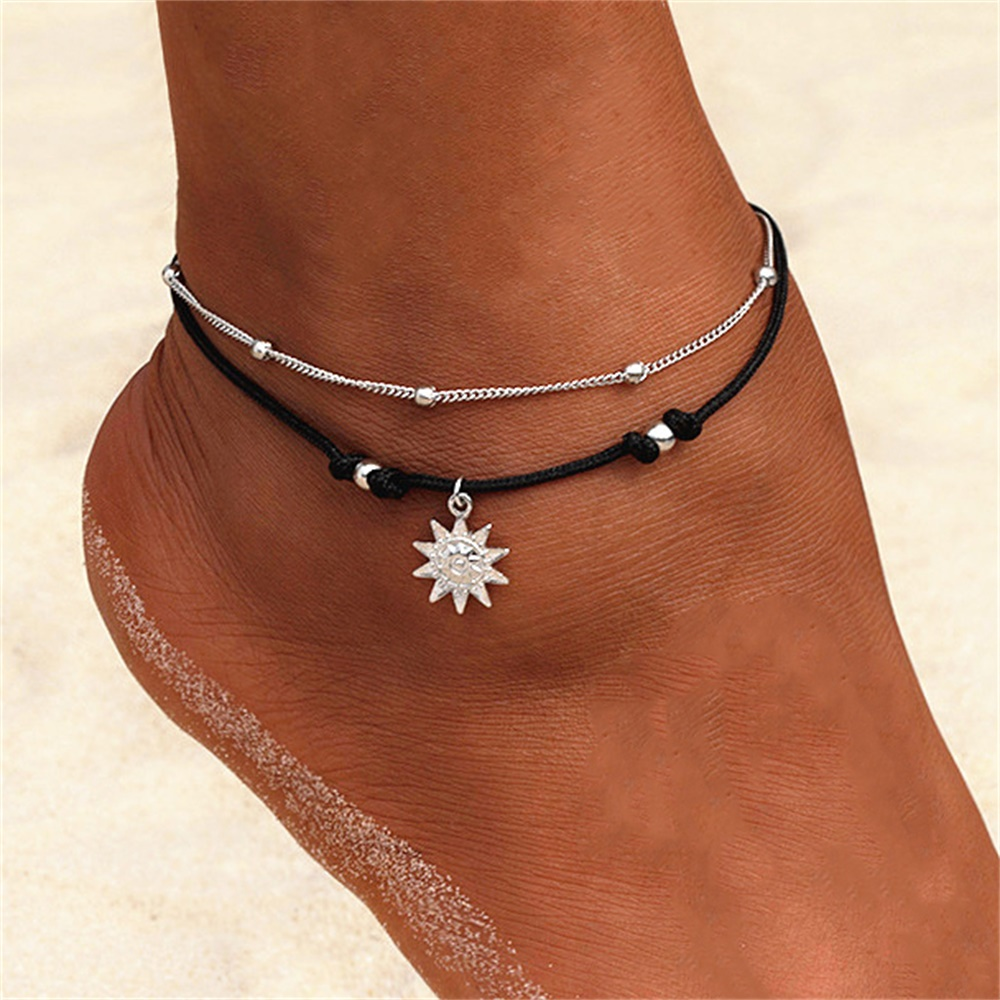 KISSWIFE Vintage Boho Multi Layer Beads Anklets For Women Fashion Sun Pendent Anklet Handmade Chain Foot Party Jewelry