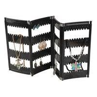 Hurtownie Czarny wyczyść 4 Ekran składany wyświetlacz kolczyk biżuteria organizator rack stojak macaron Liście naszyjnik uchwyt do showcase