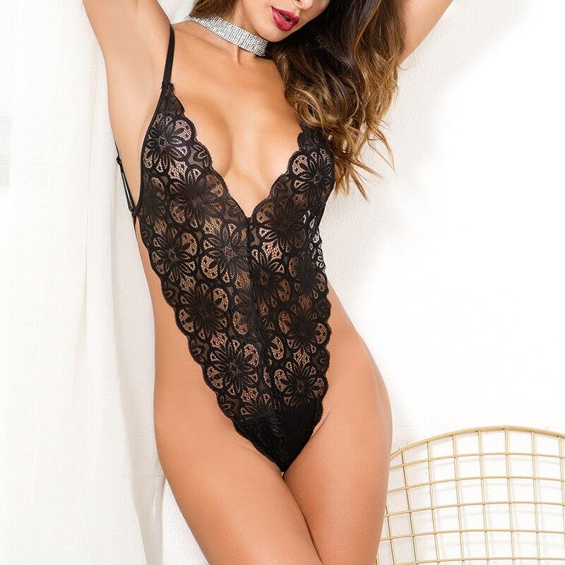 women sexy deep v neck floral lace bodysuit women Strap black jumpsuit romper 2018 summer playsuit bodysuit overall WS8826T