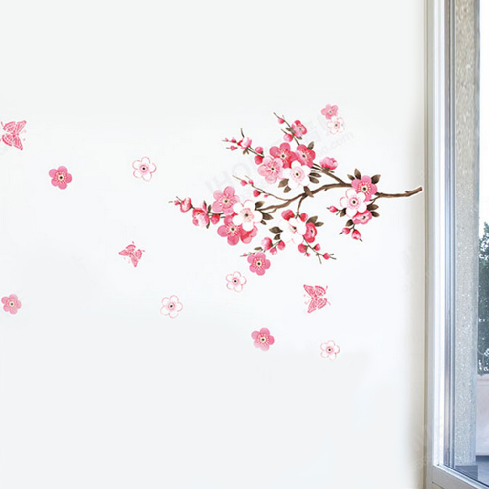 compare prices on sakura decorations online shopping buy low hot high quality pink lovely flowers sakura peach blossom wall sticker office decals art diy home