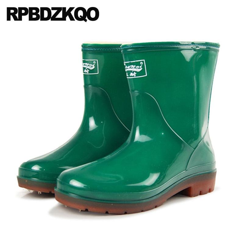 2018 green Pvc Sexo Sapatos Pele Borracha blue Do De Prova Queda Chunky Chuva Preto D' Designer Rainboots Inverno Durável Black À Água Tornozelo Botas Verde Masculino Barato Mens gWnaFnq