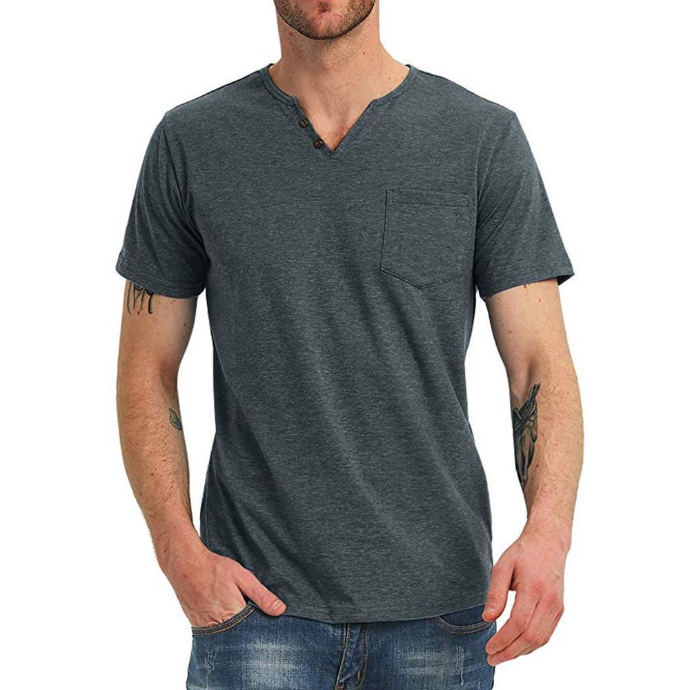 Cromoncent Men Top Tee Cotton Linen Ethnic Style T-Shirt