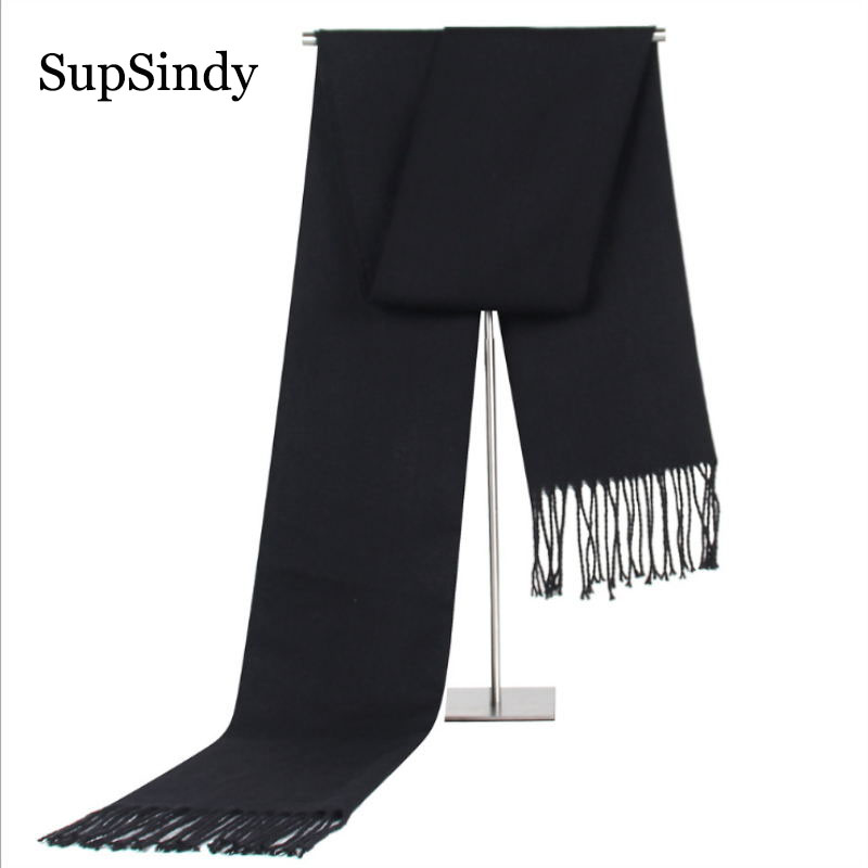 SupSindy Winter Vintage Soft Black Luxury Shawl Warm Cashmere Foulard Scarf With