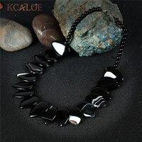 Kcaloe Big negro piedra mujeres collar natural Onyx 2017 nueva Declaración gargantillas Collares para las mujeres vintage Accesorios bijoux