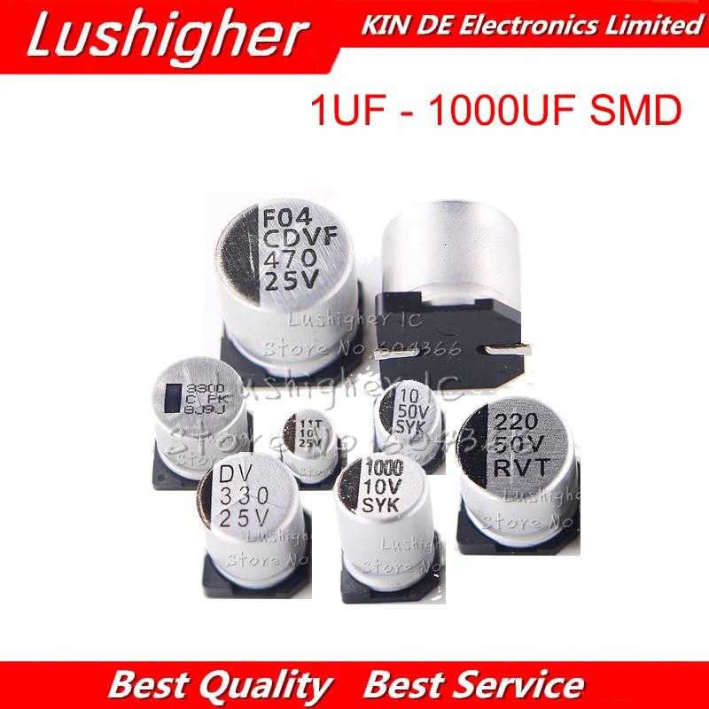 10pcs 25V 470UF Size 10x10.5mm SMD 25V470UF 1UF-1000UF 25V 470UF 16V 3300UF 10V 2200UF 220UF Aluminum Electrolytic Capacitor