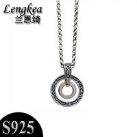 Lengkea jewery Men choker Men's necklaces,925 sterling silver necklace Retro double circles pendant,2018 men jewelry accessories