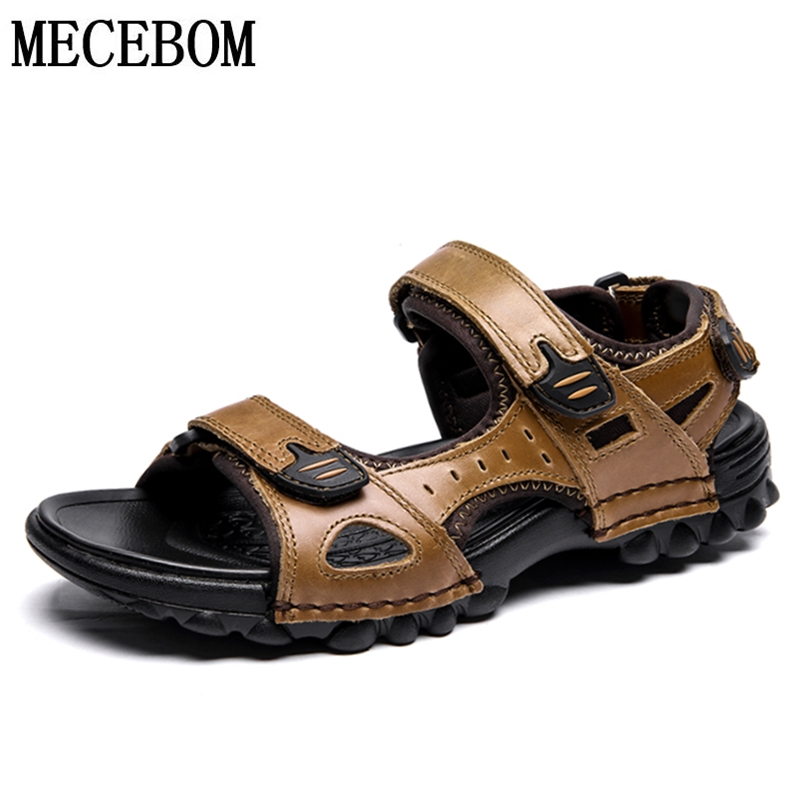 Men's Sandals Summer Split Leather Shoes For Male Comfortable Beach Sandals Slipper Men Casual Shoes Plus Size 39-48 F68m
