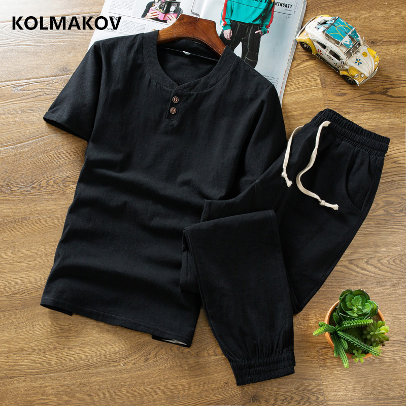 (Shirt + Trousers) New Style Short Sleeve Men Shirt Cotton And Linen Shirts Men's High Quality Of Casual Fashion Shirts Two Piec