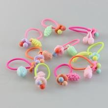 10PC Girls Fruit elastyczne opaski do włosów akcesoria guma do nakryć głowy Rubbler ozdoby opaski do włosów opask opaski isnice spinki tanie tanio Headwear TS009 Dziewczyny Dzieci Moda Plastikowe Kreskówki Elastic Hair Bands
