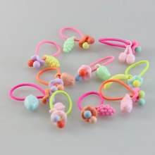 10pc Girls Fruit Elastic Hair Bands Accessories gum for Headwear Rubbler ornaments ties hairband opask headbands isnice hairpins cheap TS009 Children Fashion PLASTIC Cartoon