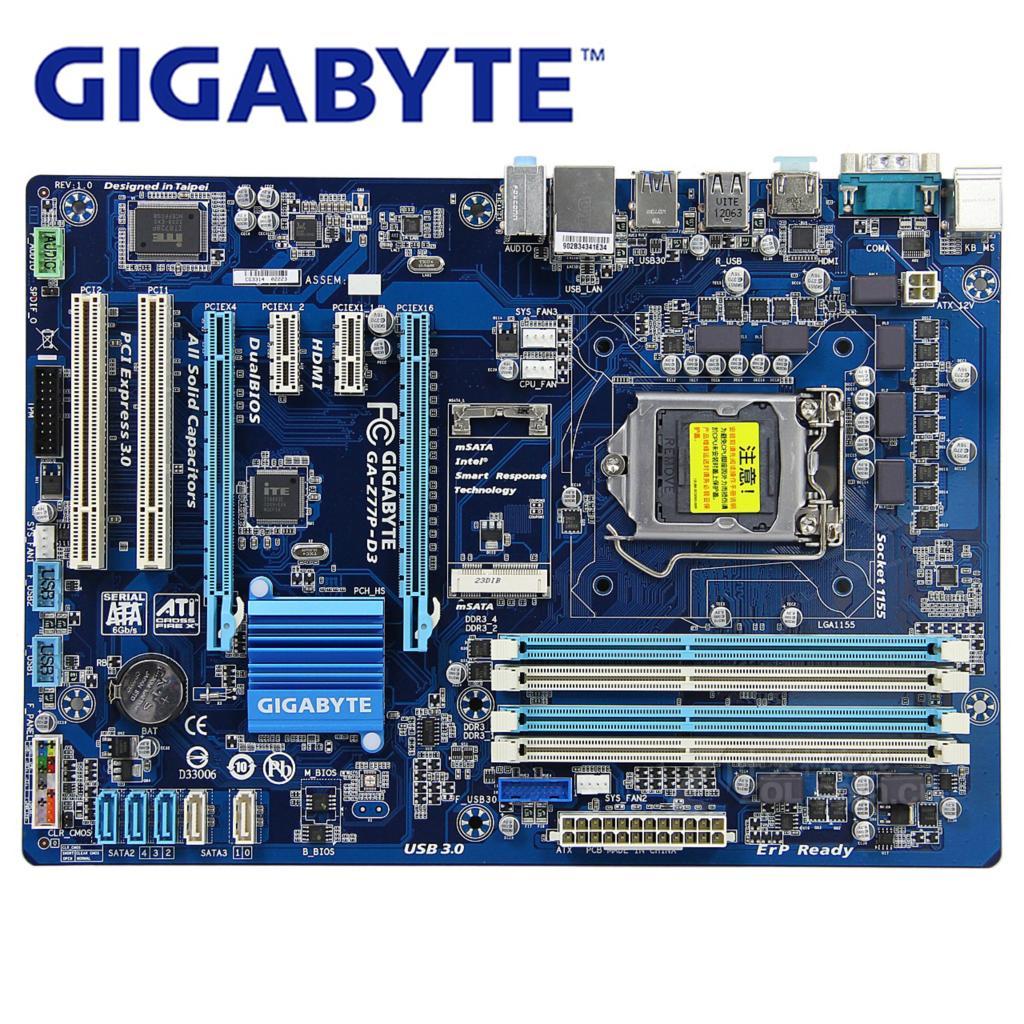 LGA 1155 DDR3 For Intel Gigabyte GA-Z77P-D3 100% Original Motherboard USB3.0 Z77 Z77P-D3 Z77P D3 Desktop Mainboard SATA3 HDMI