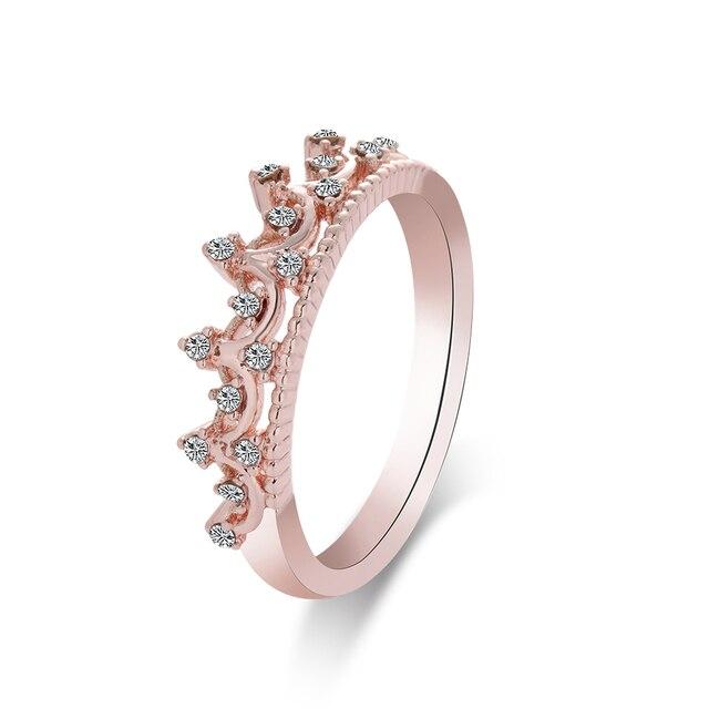 1pc Elegant Rose Gold Crystal Rhinestone Engagement Rings Queen Crown Shaped For Women Princess Wedding