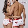 Amante presentes de aniversário showkiss casais underwear boxers algodão mens boxer shorts das mulheres impressão levres houges branco underwear