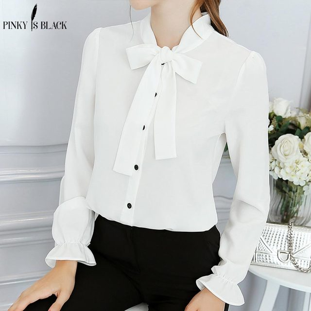 78fcb499587 Pinky Is Black Solid Women Blouses Long Sleeve Causal Blouse Shirt Simple Design  Ladies Tie Neck Office Shirt Summer 2018 S-2XL