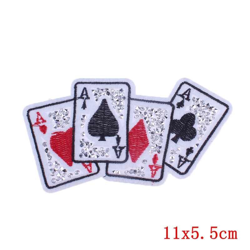 Pulaqi Rock Cool Poker Set tarjeta juego hierro en parches para ropa apliques en mochila zapatos decoración calcomanía bordada F