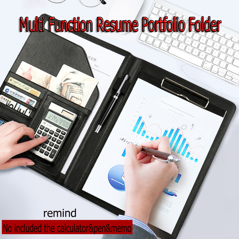 A4 Leather Multi function Portfolio File Folder Interview Resume Document Organizer Bag Business Card Holder Binder Writing Pad hua jie pu leather portfolio pocket folder card holders a4 paper file document organizer bag for meeting menu covers restaurants