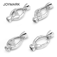 White Gold Plated 925 Sterling Silver DIY Connector Link Charm Spring Clasps With End Caps Fit Pearl Gemstone Jewelry SC CZ044