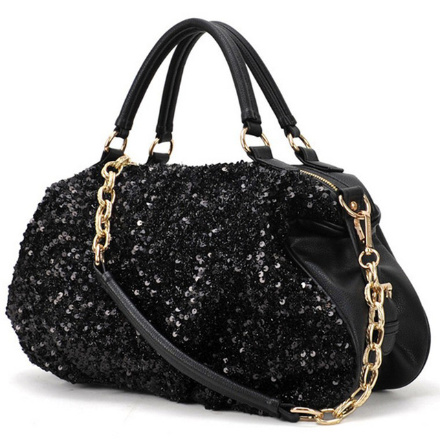 2016 new fashion women leather handbag crossbody tote bags over shoulder chain Sequins European and American  ladies bolsas