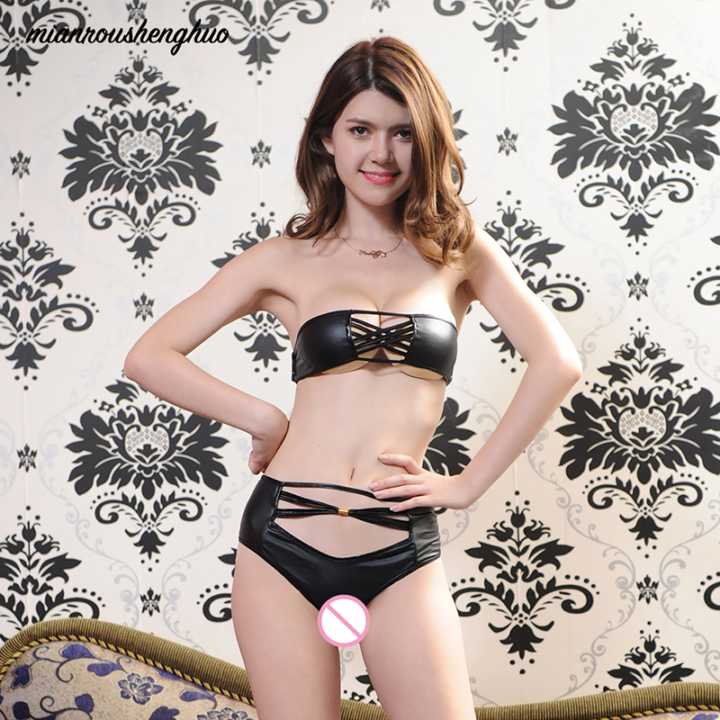 Women Sexy Underwear Perspective Black Pu Leather 2019 Porn Sexy Lingerie Latex Brief Erotic Lingerie Hot Sexy Women Costumes
