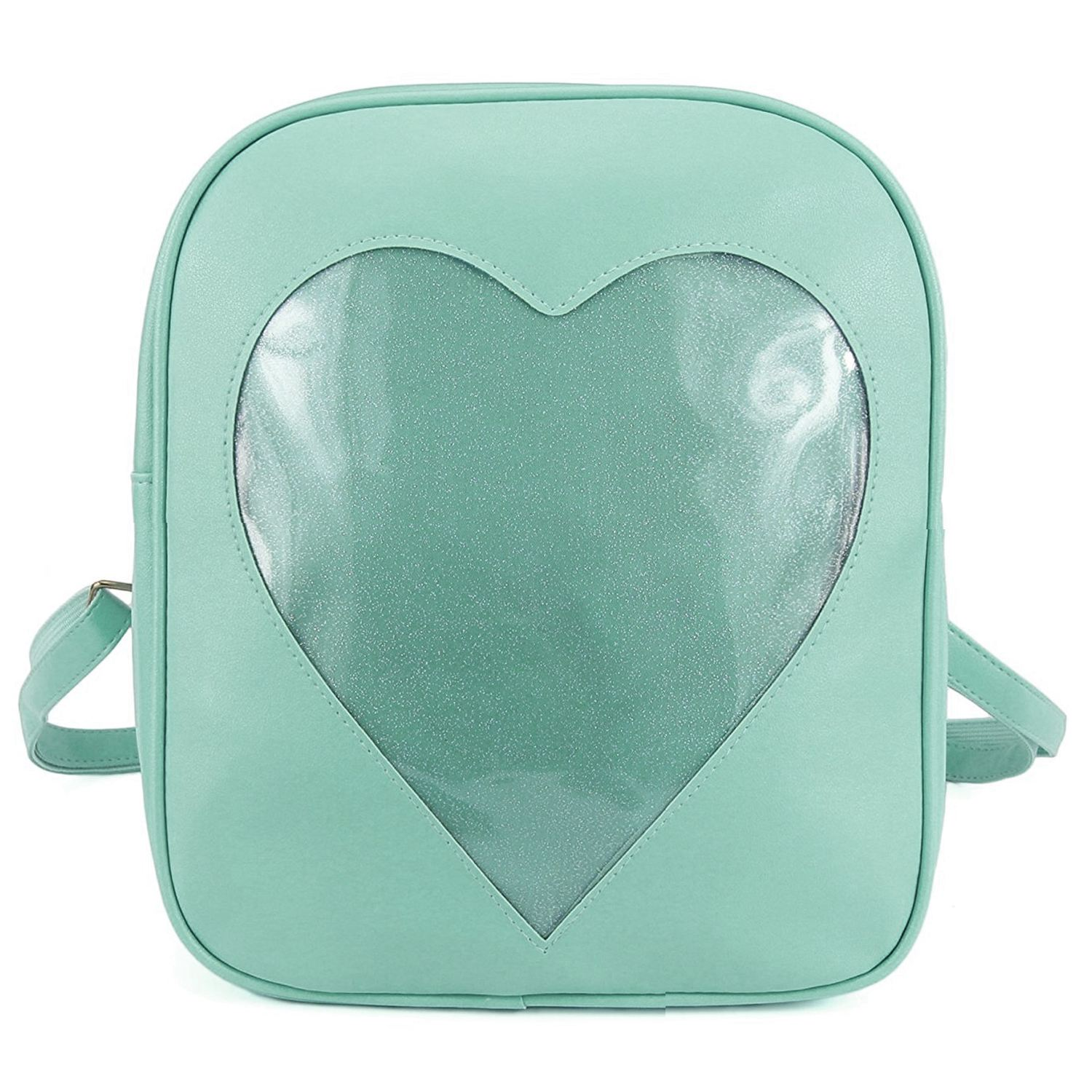 Hot-Clear Candy Backpacks Transparent Love Heart School Bags for Teen Girls Kids Purse Bag(Green)