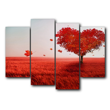 Red Love Heart Tree Popular Wall Art Modern Vintage Canvas Painting For Living Room Wedding Decor Home Decoration No Frame