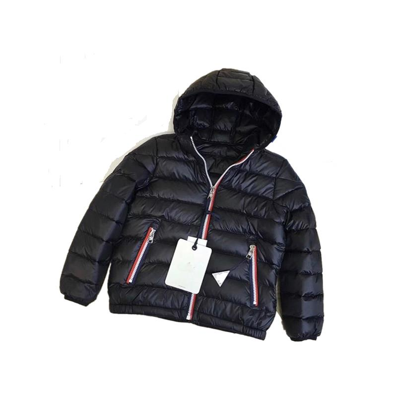 Winter Children Outwear Fashion 80% White Duck Down Jackets Black Zipper with Hooded Boys Girls Clothes Wholesale Free Shipping boys winter jackets 80