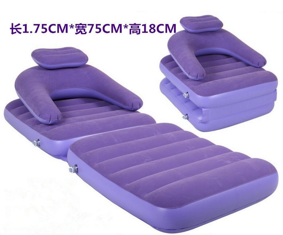 купить Purple and pink color foldable bean bag air chair, inflatable beanbag portable sofa chair, flocking PVC sofa with back support недорого