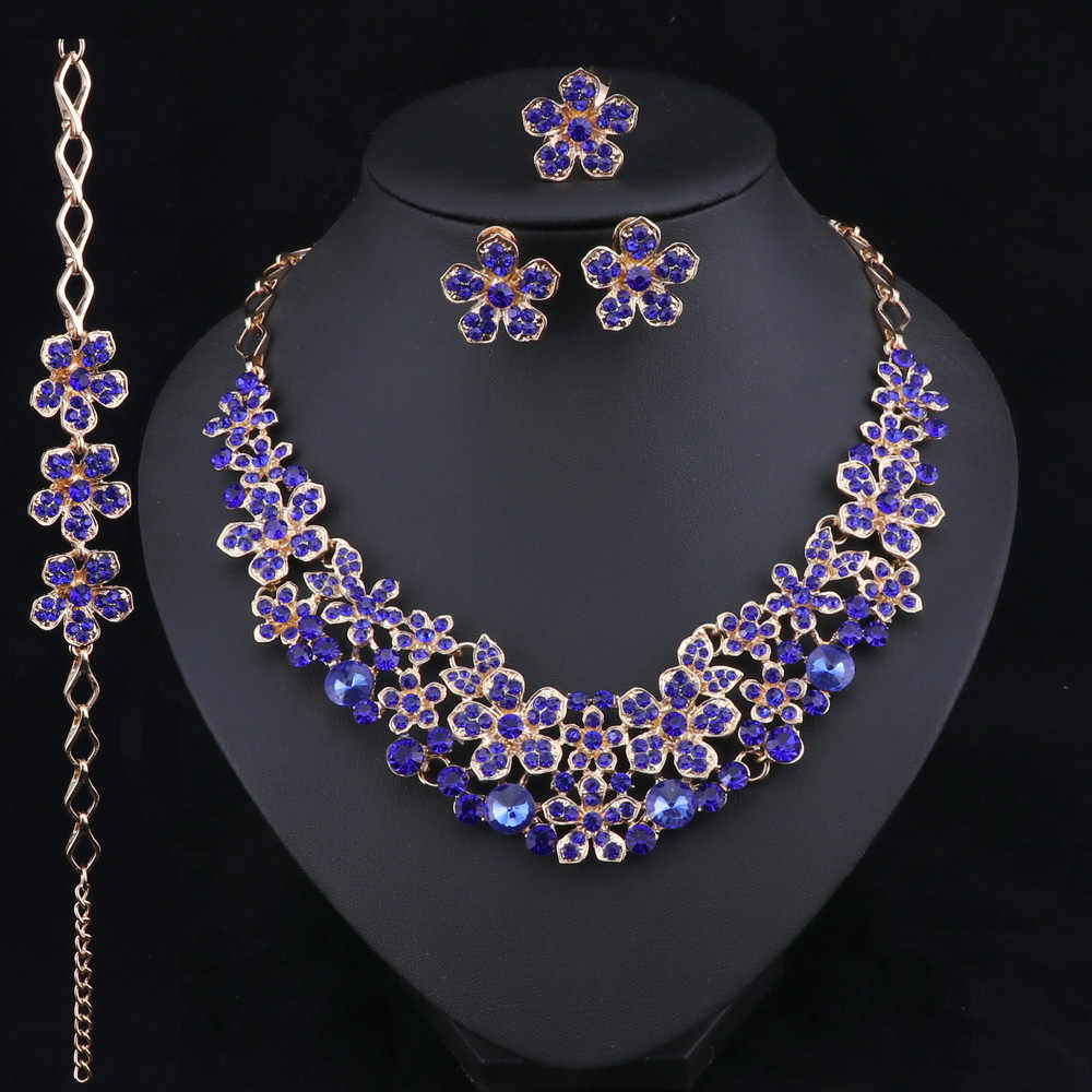 Crystal Bridal Jewelry Sets Party Costume Accessories Wedding Flower Pendant Necklace Set Jewellery Decoration for Brides Women