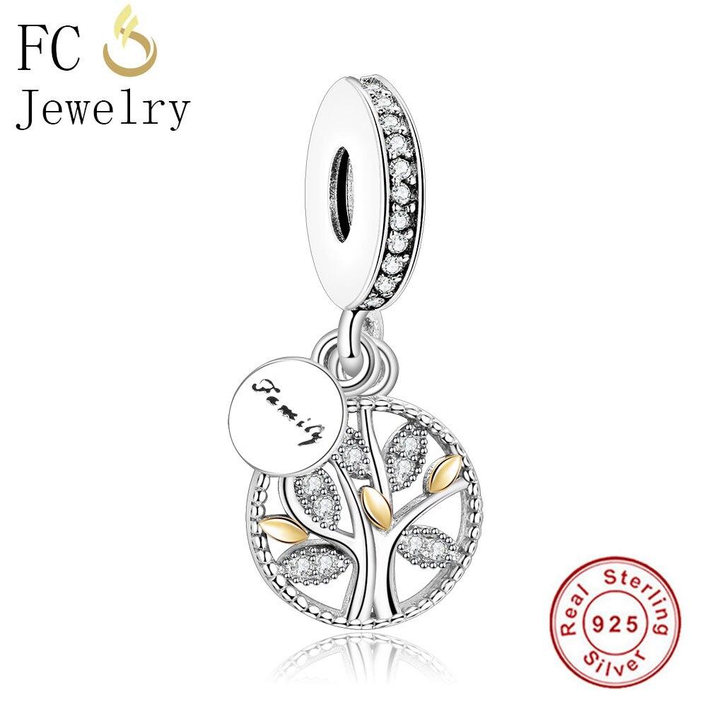 FC Jewelry Antique 925 Sterling Silver European Family Life Bead Dangle Fit Pandora Charms Bracelet Necklace Pendant Berloque