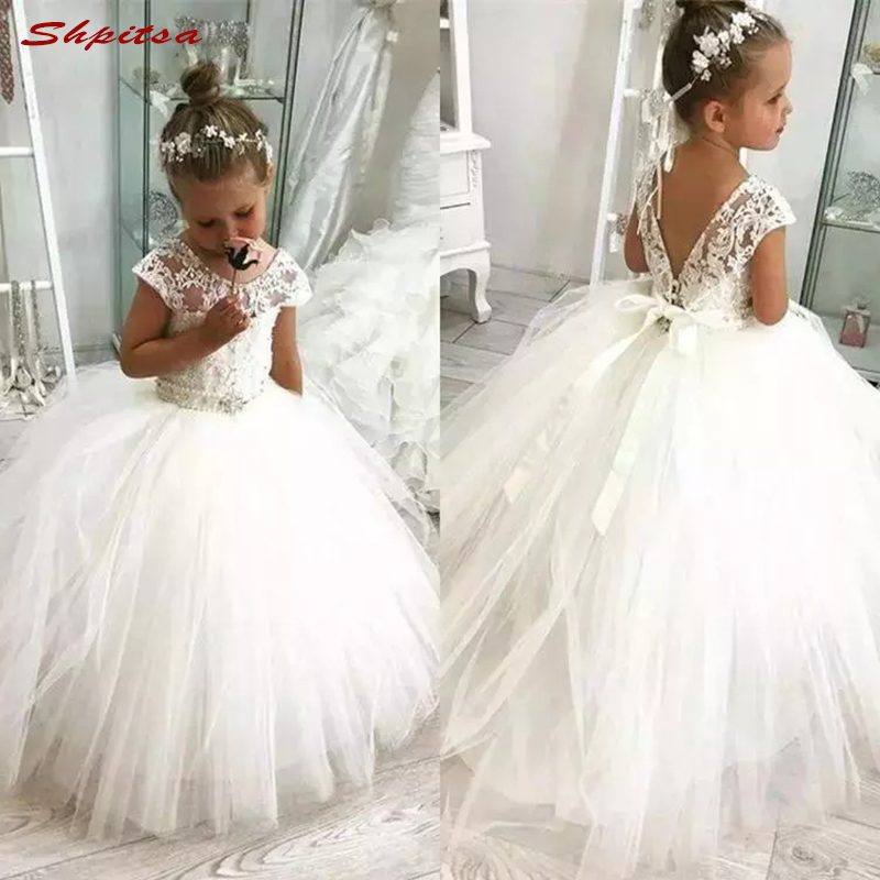Luxury Crystals   Flower     Girl     Dresses   for Wedding Party First Pageant Communion   Dresses   2018 vestidos primera comunion para ninas