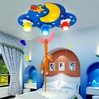 Creative led Cartoon Monkey moon children's room bedroom ceiling lamp Princess cartoon eye room lamp