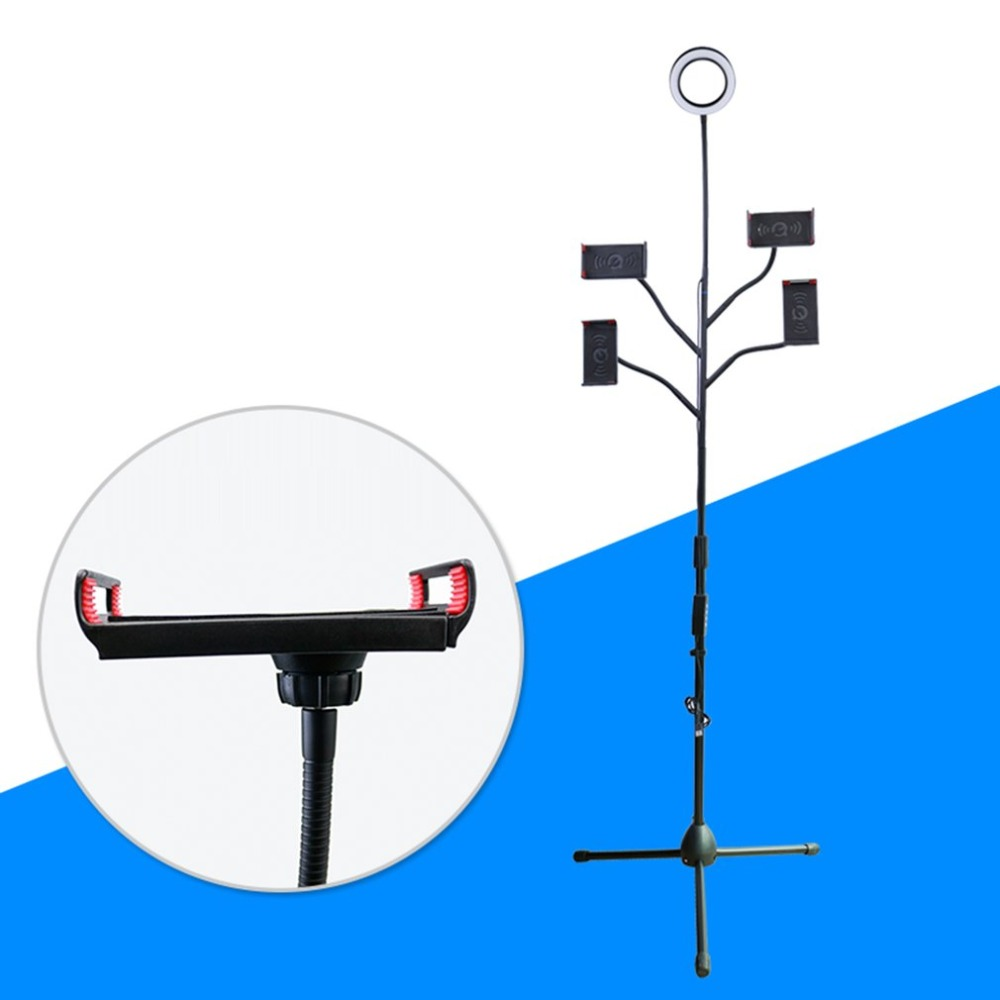 Soporte multifunción de transmisión de suelo con 4 abrazaderas anillo de Selfie ajustable 360 rotación para transmisión de vídeo en vivo