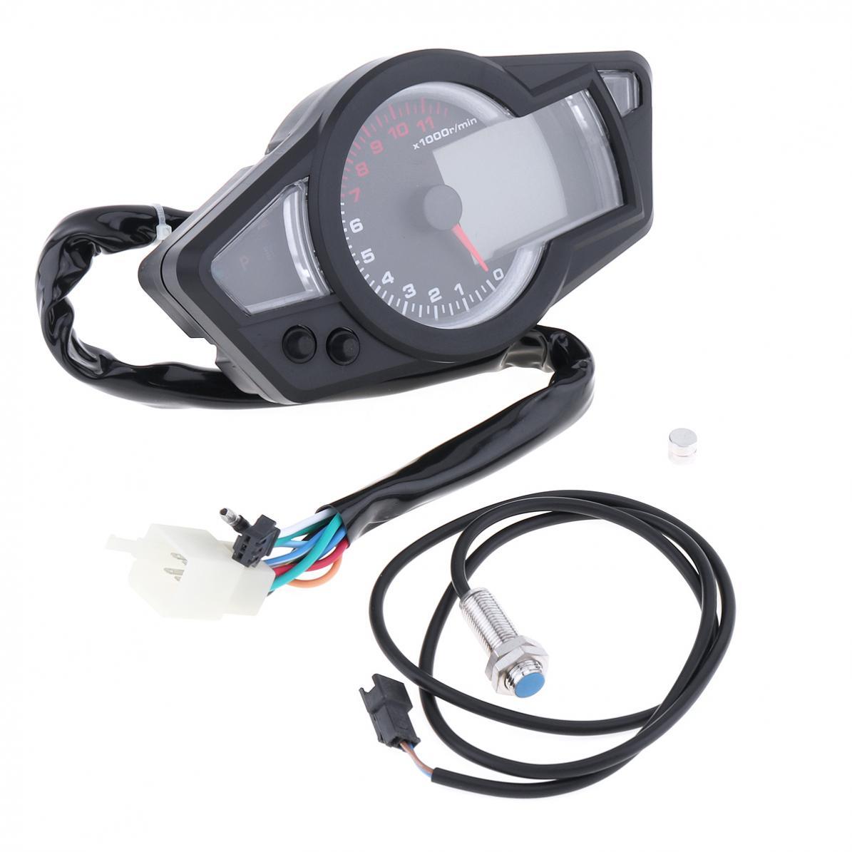 Universal 12v Car Tachometer Blue Full Lcd Backlight