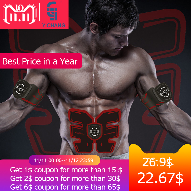цены EMS electro muscle massager muscle stimulator electronic tens stimulation ems gel pads smart fitness machine