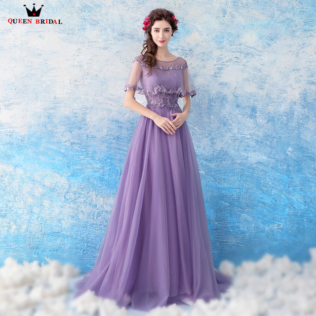 A-line Tulle Lace Crystal Long Formal Elegant Purple Bride Evening Dresses  2018 New Fashion Party Prom Dress Evening Gown WS78 a28d4f4da085
