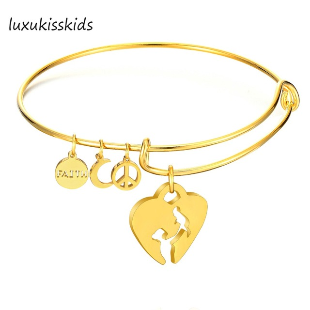 US $2 8 25% OFF|LUXUKISSKIDS Fashion Broken Heart Women Girls Carter  Jewelry Stainless Steel Bangle Bracelet With Free Shipping-in Bangles from