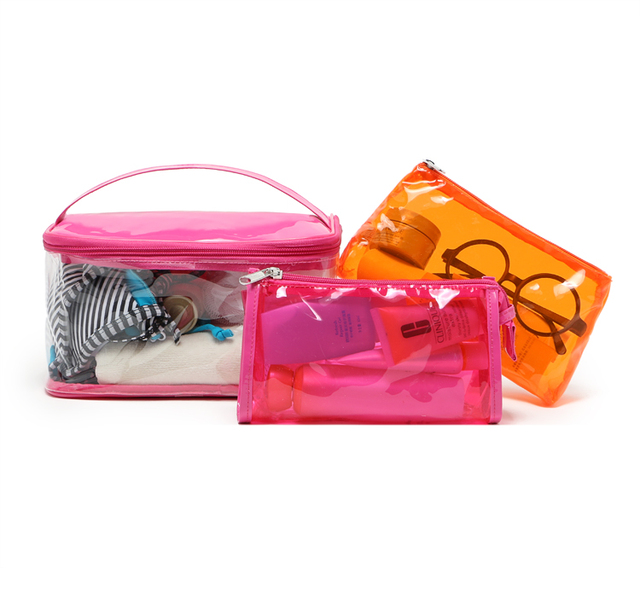 a23e1e20afd4 US $11.9 |Beautiful fresh neon color transparent waterproof pvc portable  wash light travel washing make up case cosmetic bag 3 piece set-in Cosmetic  ...