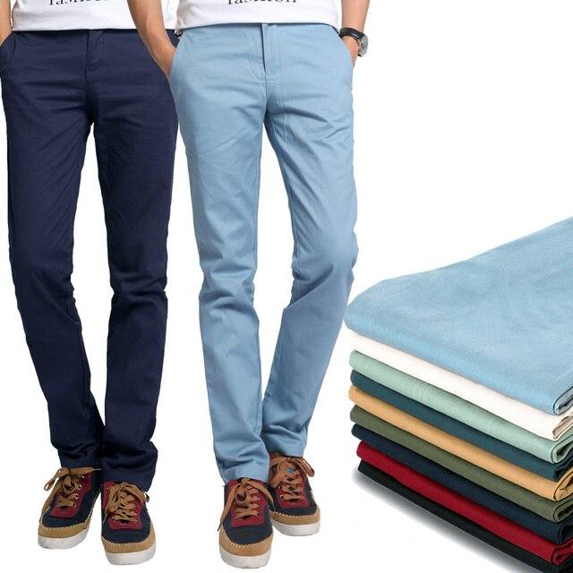 Новый 2016 Мода прямо хлопка Случайные мужские брюки мужчины красное вино/хаки брюки большой размер 28 ~ 38/40/42/44 брюки завода оптовая