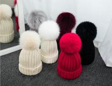 5 pieces/lot Brand new fox fur ball cap winter hat for women girl 's knitted beanies cap pure color cute hats