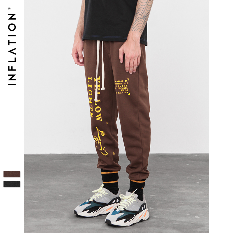 Image 2 - INFLATION Letter pringting sweatpants 2018 autumn streetwear male female pants hip hop trendy fashion track trousers 8835W    -