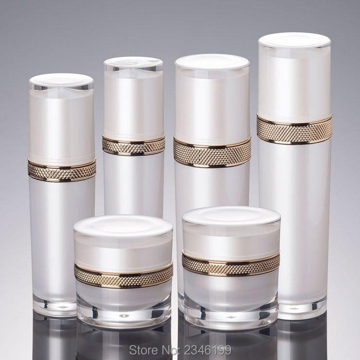10Pcs Lot 30ML 50ML 100ML 120ML Empty White Elegant Lotion Pump Bottlte DIY Arcylic High Class