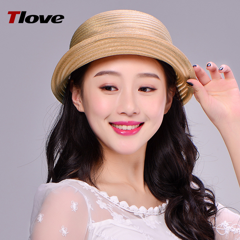 Female Summer Sun Hat Aristocratic Ogan Yarn Berley-basin Cap Lady Breathable Sunscreen Cap Student Foldable Travel Hat B-7714