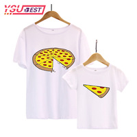 New Family Matching Clothes Dad Daughter Clothes T Shirt Fashion Pizza Short Sleeve Familia Father Son