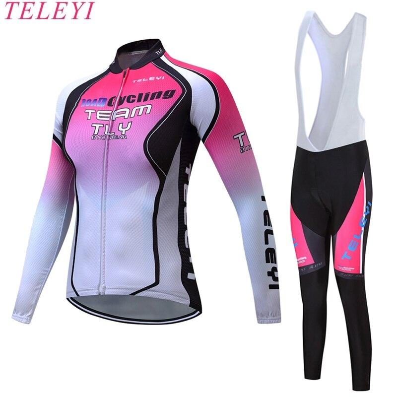 teleyi 2017 Thin Long Sleeve Cycling Jersey Sets Women Sportswear Mtb Bike Bicycle 3D Gel Padded Cycling Clothing